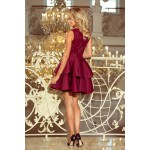 Bordové exkluzívne šaty s čipkovaným dekoltom ALEXIS 207-1
