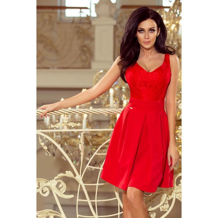 09a5778e5a Červené šaty s čipkovaným dekoltom a kontrafaldami 208-2