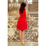 Červené šaty s čipkovaným dekoltom a kontrafaldami 208-2
