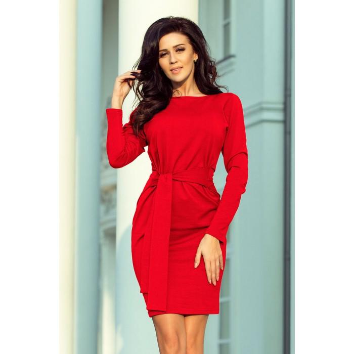 f0c4ab3eaf4c Červené úpletové šaty s rozšíreným opaskom 209-6