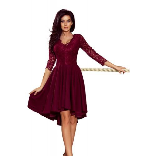 Bordové čipkované šaty so 7/8 rukávom so širokou sukňou 210-1