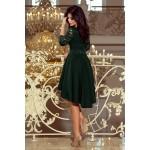 Tmavozelené čipkované šaty so 7/8 rukávom so širokou sukňou 210-3