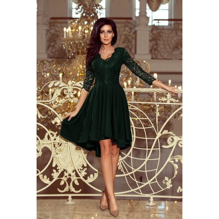 9bad446700 Tmavozelené čipkované šaty so 7 8 rukávom so širokou sukňou 210-3