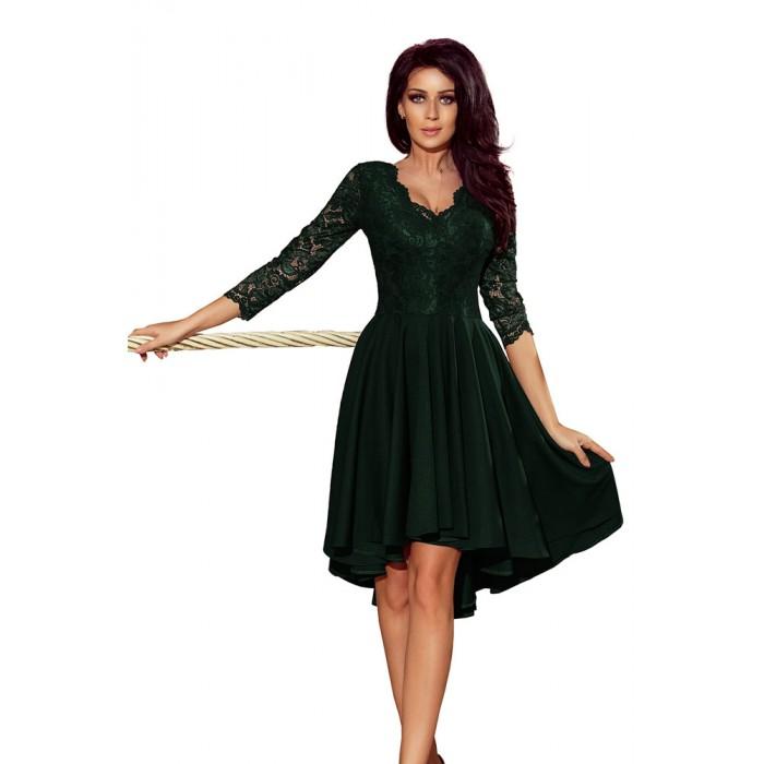 5f2549afc5b1 Tmavozelené čipkované šaty so 7 8 rukávom so širokou sukňou 210-3