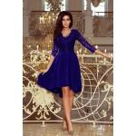 Kráľovsky modré čipkované šaty so 7/8 rukávom so širokou sukňou 210-4