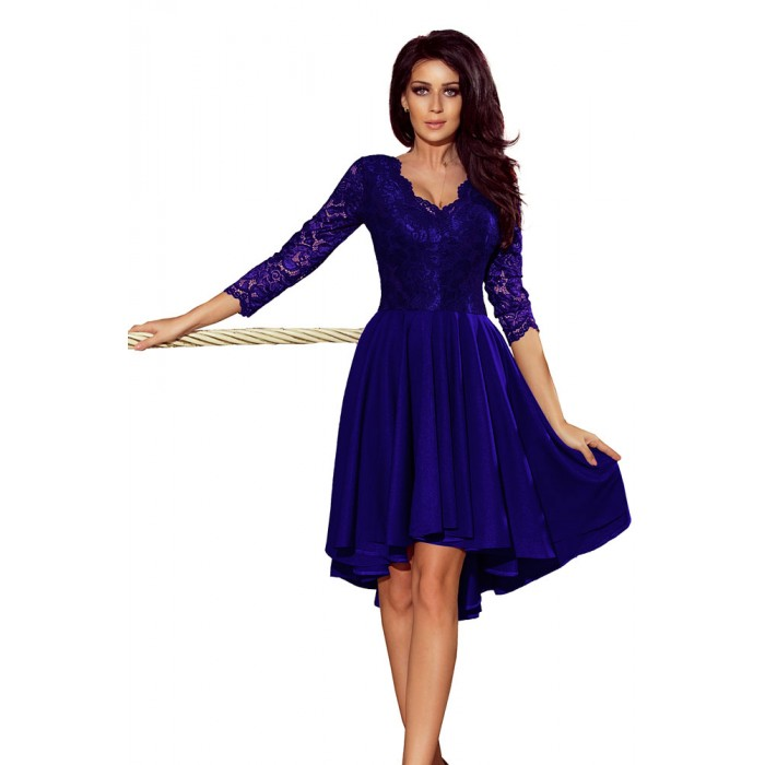 86a6437c7ddb Kráľovsky modré čipkované šaty so 7 8 rukávom so širokou sukňou 210-4