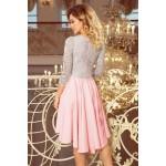 Ružovo-šedé čipkované šaty so 7/8 rukávom so širokou sukňou 210-5