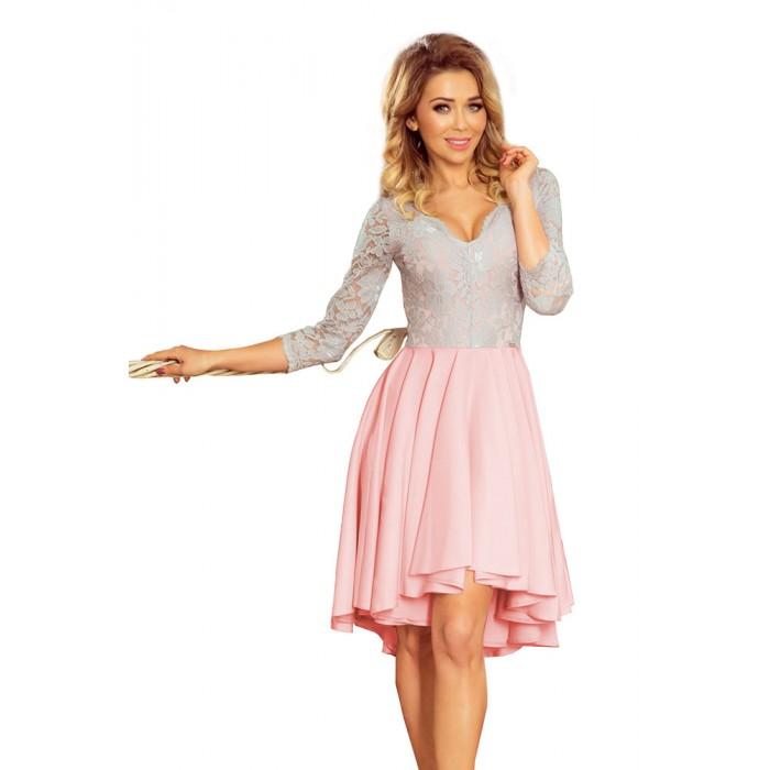 0d6cf516221c Ružovo-šedé čipkované šaty so 7 8 rukávom so širokou sukňou 210-5