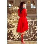 Červené čipkované šaty so 7/8 rukávom so širokou sukňou 210-6