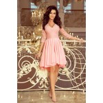 Ružové čipkované šaty so 7/8 rukávom so širokou sukňou 210-7