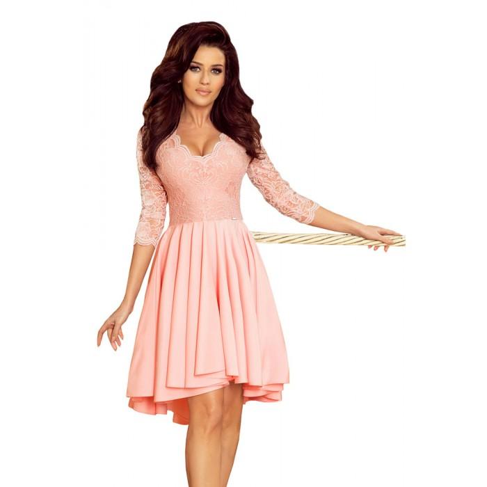 69ee938e4414 Ružové čipkované šaty so 7 8 rukávom so širokou sukňou 210-7