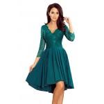 Smaragdovozelené čipkované šaty so 7/8 rukávom so širokou sukňou 210-8