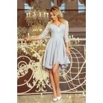 Svetlošedé čipkované šaty so 7/8 rukávom so širokou sukňou 210-9