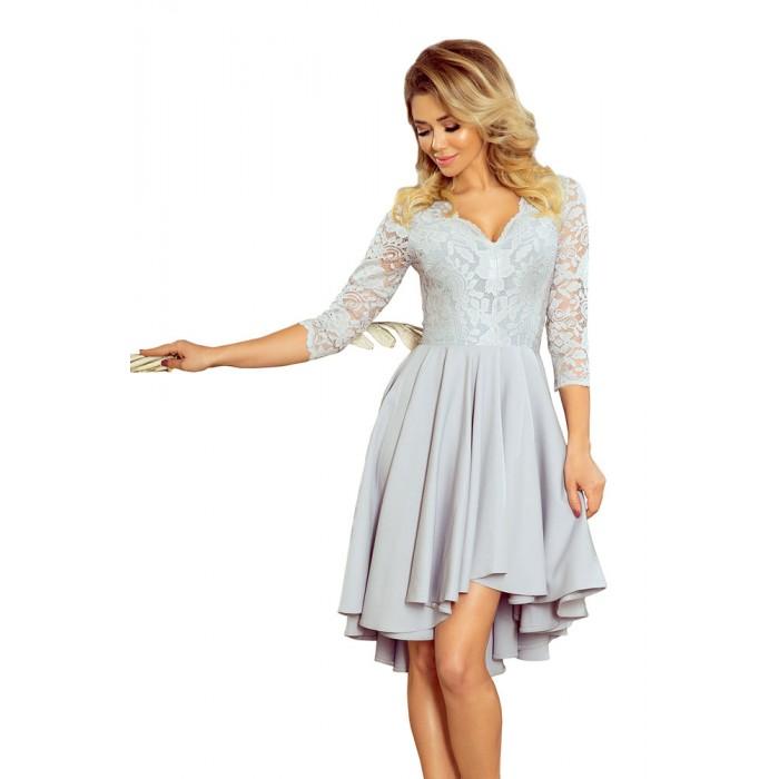 26d14e104526 Svetlošedé čipkované šaty so 7 8 rukávom so širokou sukňou 210-9