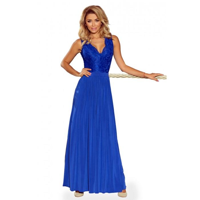 Kráľovsky modré dlhé šaty s čipkovaným dekoltom 211-3 0679e13a4d1