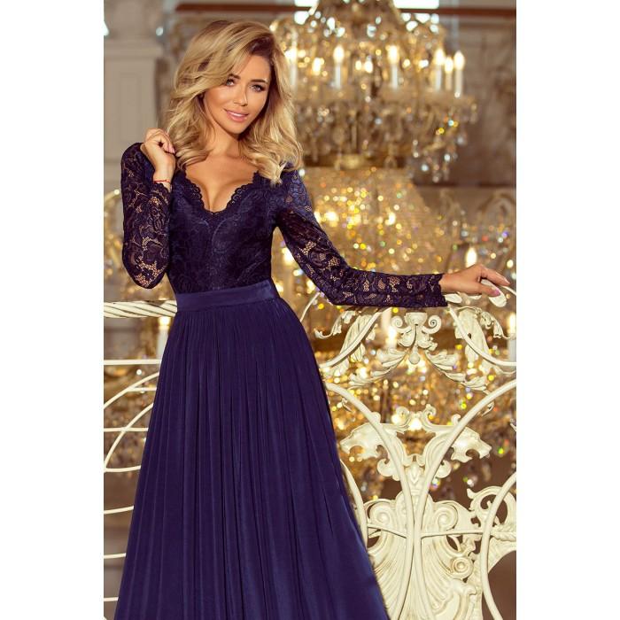 Tmavomodré dlhé šaty s čipkovaným dekoltom a dlhým rukávom MADLEN 214-1 19eec068dde