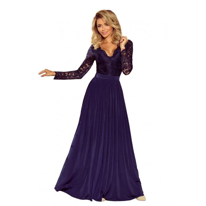 Tmavomodré dlhé šaty s čipkovaným dekoltom a dlhým rukávom MADLEN 214-1 209e47b31db