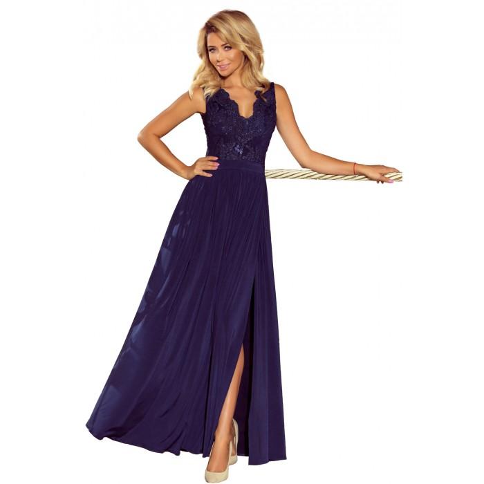 Tmavomodré dlhé šaty s čipkovaným dekoltom LEA 215-2 058e10860f4