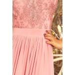 Púdrovoružové dlhé šaty s čipkovaným dekoltom LEA 214-4