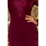 Bordové exkluzívne púzdrové šaty s čipkou 216-3