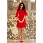 Červené trapezové šaty s rozšíreným 3/4 rukávom 217-1
