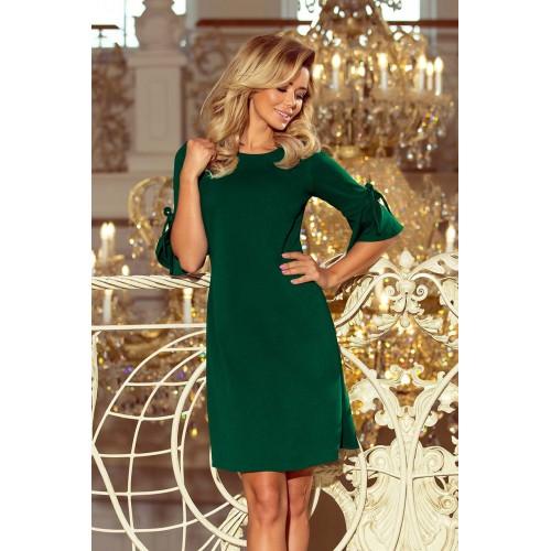Trapézové šaty s mašlou - tmavo zelená 217-2