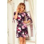 Kvetované trapezové šaty s rozšíreným 3/4 rukávom 217-5