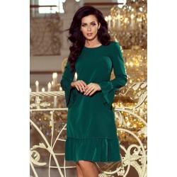 Zelené elegantné šaty s volánmi PARI 226-1