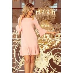 Marhuľové elegantné šaty s plisovaným volánom 228-1
