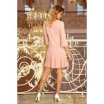 Marhuľové elegantné šaty s plisovaným volánom 228-1 M