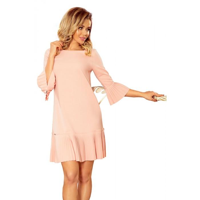 6564c23b7f87 Marhuľové elegantné šaty s plisovaným volánom 228-1