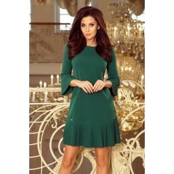 Zelené elegantné šaty s plisovaným volánom 228-2