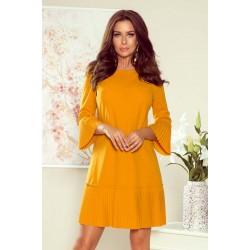Horčicovo žlté elegantné šaty s plisovaným volánom 228-7