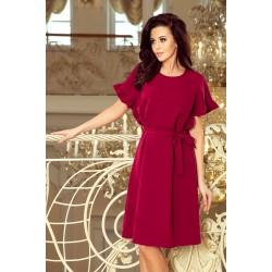 Bordové šaty s viazaním a volánikmi ROSE 229-2