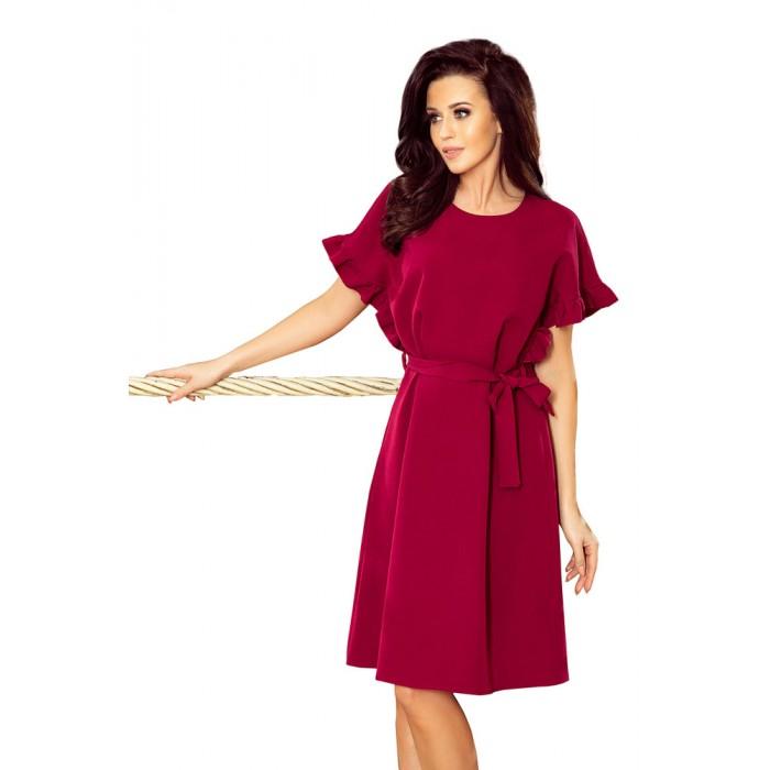98c4531c2 Bordové šaty s viazaním a volánikmi ROSE 229-2