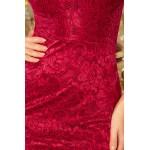 Bordové čipkované šaty s dlhým volánovým rukávom 234-1