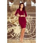 Bordové elegantné biznis šaty s preloženým dekoltom KELLY 237-2