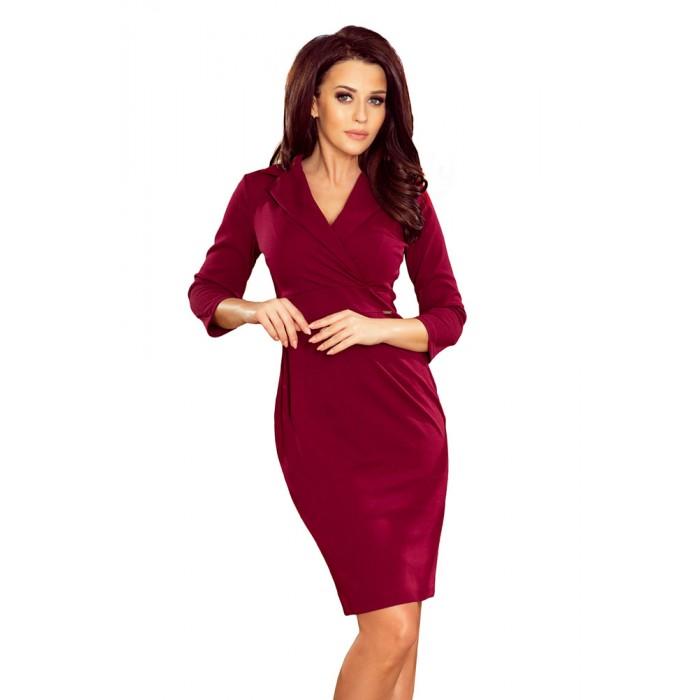 b29ce36dd275 Bordové elegantné biznis šaty s preloženým dekoltom KELLY 237-2