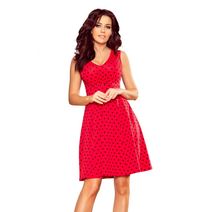 287cf88295f3 Červené bodkované šaty v Alínii s V výstrihom 238-1