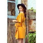 Medové žlté motýľové šaty s opaskom SOFIA 287-1
