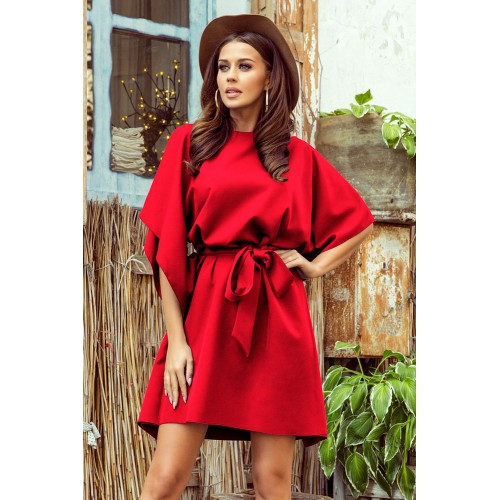 Červené motýľové šaty s opaskom SOFIA 287-3