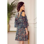292-2 MARINA šaty s výstřihem - zelené s květinami