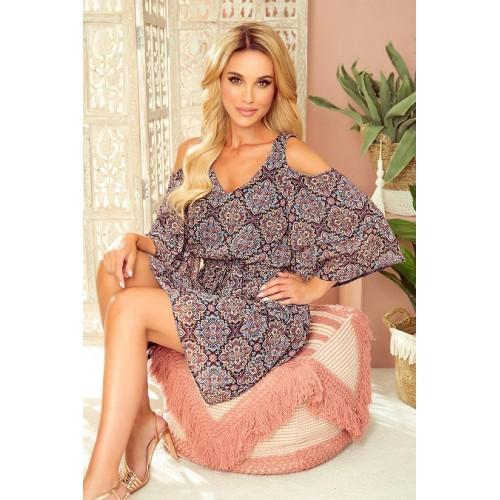 292-3 MARINA šaty s výstřihem - Marocký vzor