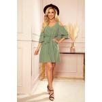 292-6 MARINA šaty s výstřihem - olivová barva