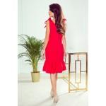Červené šaty s volánom a ramienkami ROSITA 306-1
