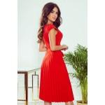 Červené plisované šaty bez rukávu s opaskom LILA 311-1