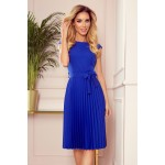 Kráľovsky modré plisované šaty bez rukávu s opaskom LILA 311-2