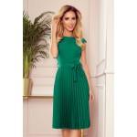 Zelené plisované šaty bez rukávu s opaskom LILA 311-3