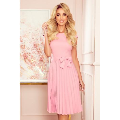 Púdrovo ružové plisované šaty bez rukávu s opaskom LILA 311-7