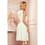 350-1 ALIZEE - šifónové šaty s vázáním - ECRU